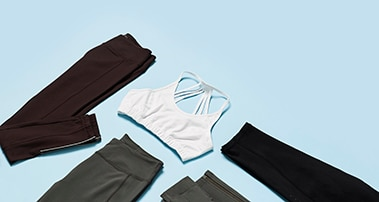Clothes folded on blue paper