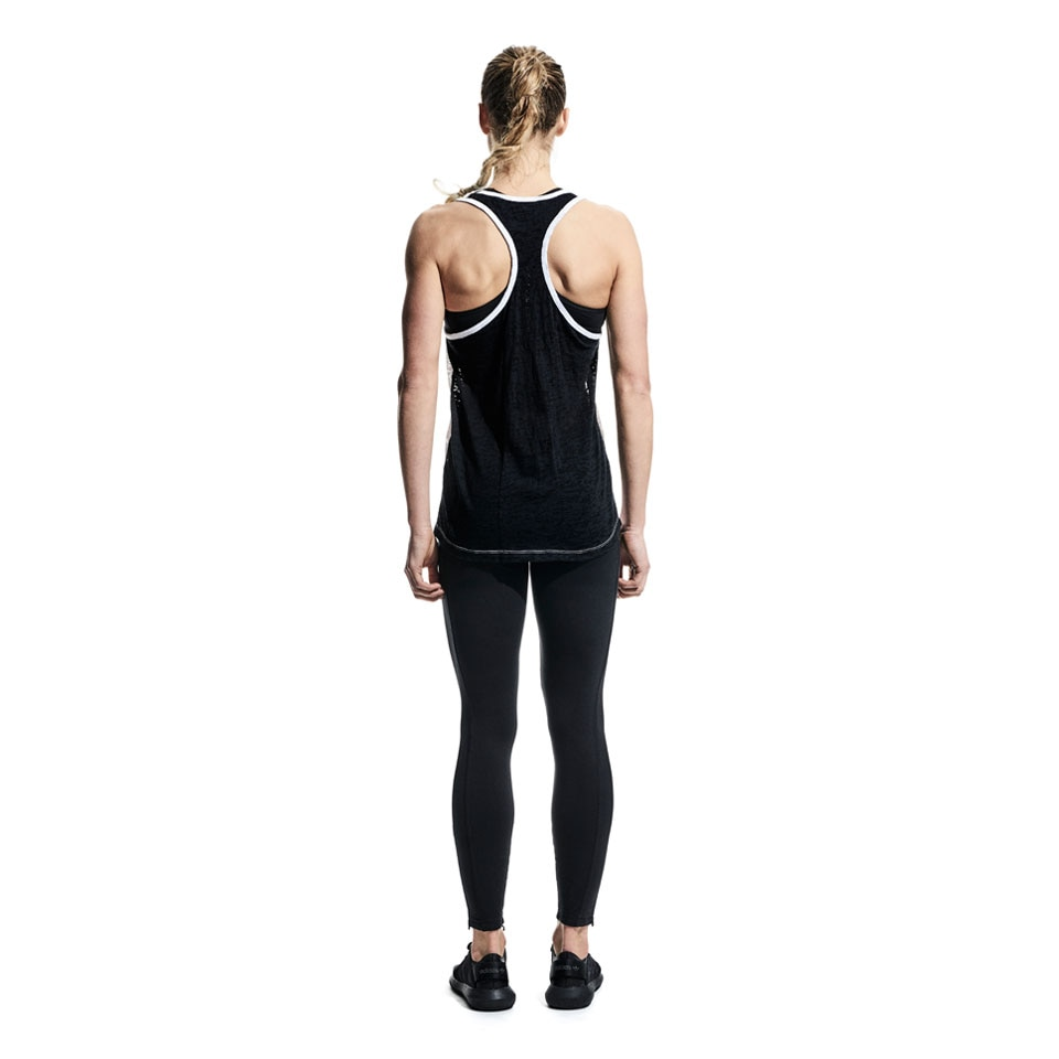 FREE TANK - contrast womens sports tank top - white/black