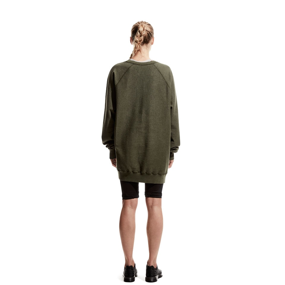 icon reversed oversized womens sweatshirt - khaki