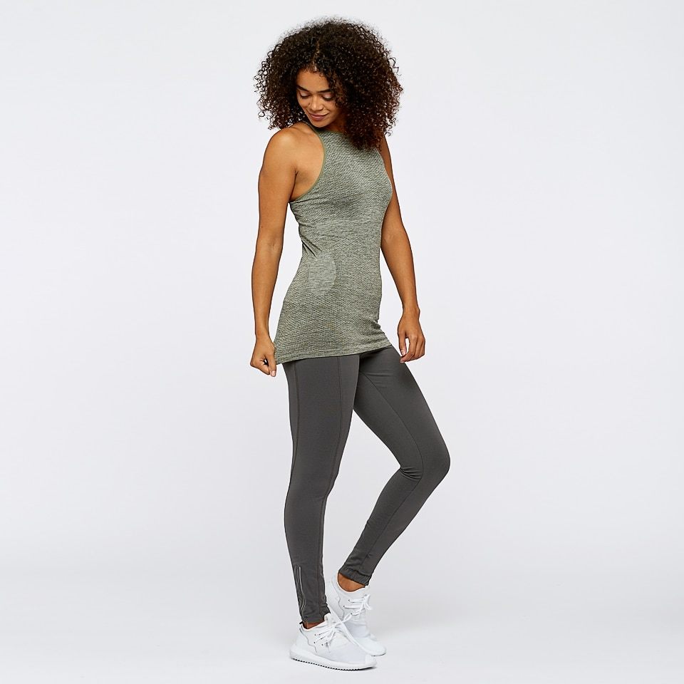 seamless womens sports vest - moss marl
