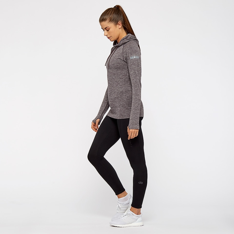 base seamless womens sports hoodie - chocolate aubergine marl