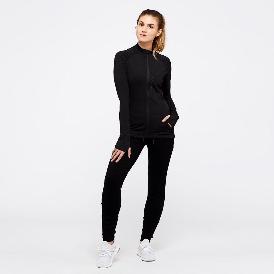 base womens zip top - black