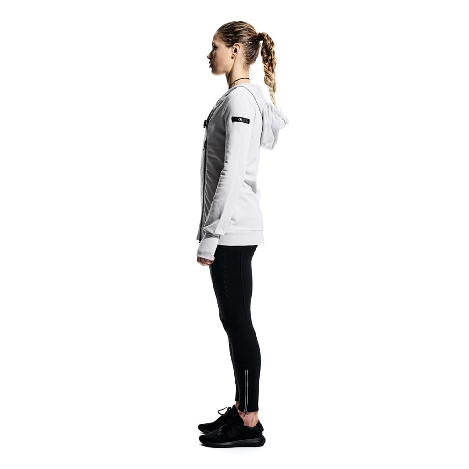 base side zip womens sports hoodie - grey