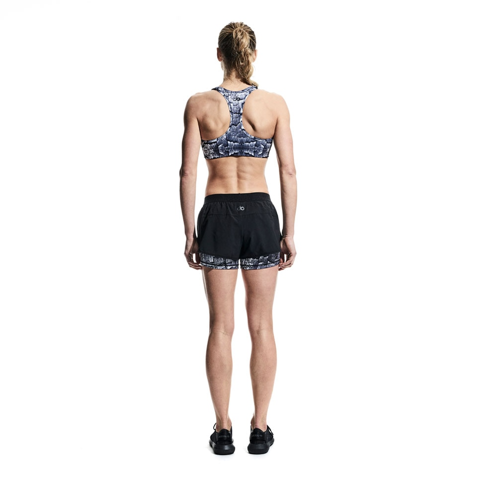 concept womens double shorts - black/wood