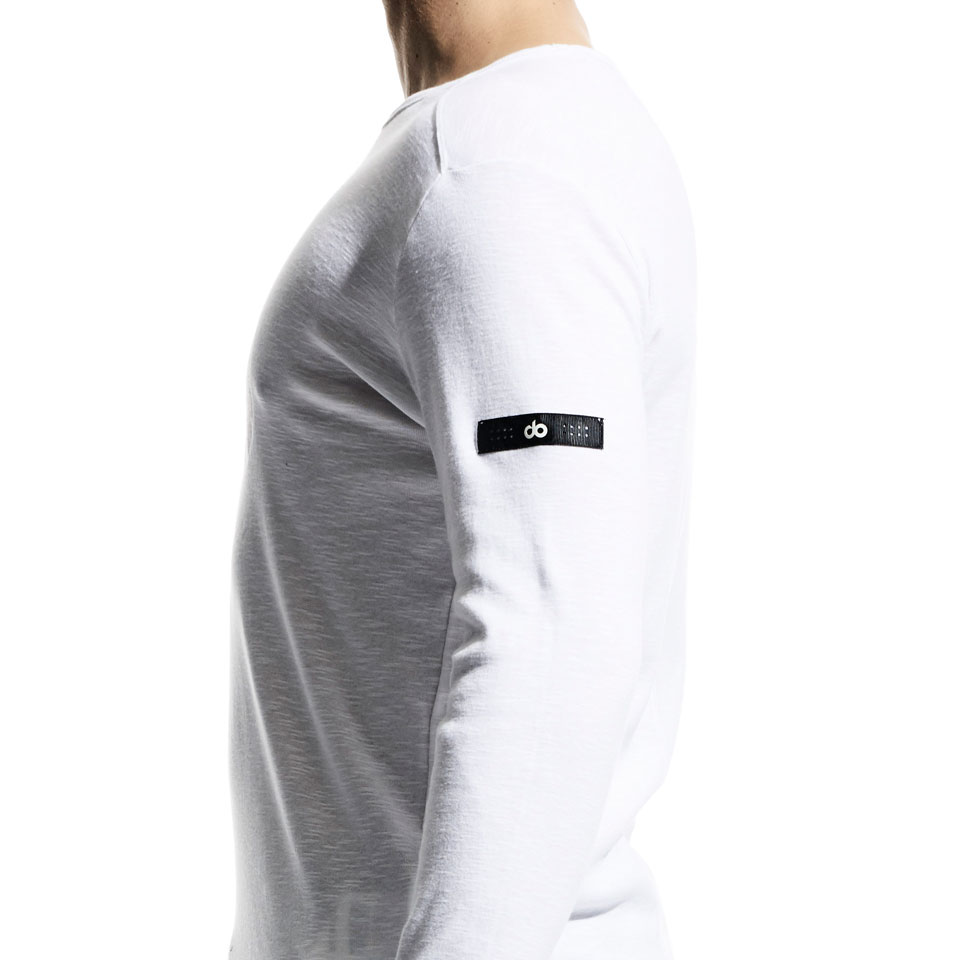 icon slub mens long sleeve - white
