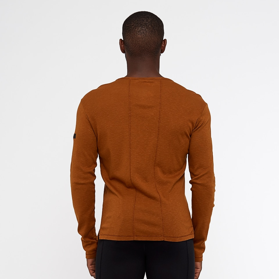 base slub mens long sleeve  - burnt caramel