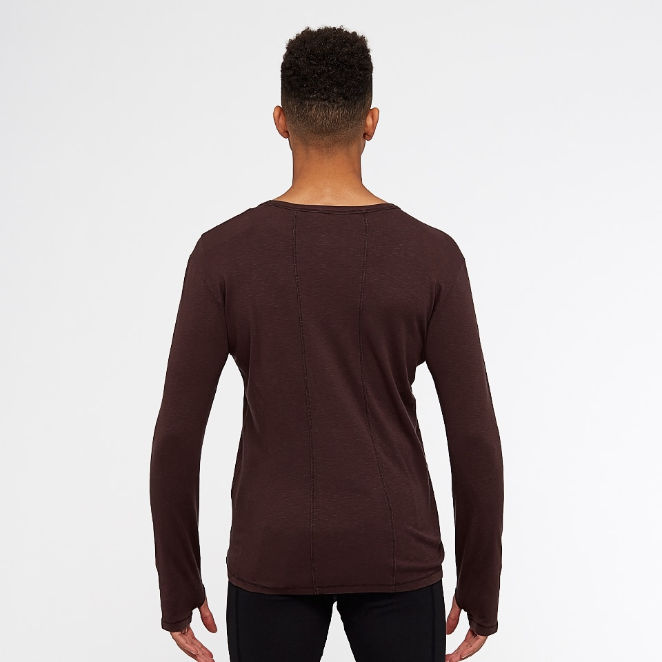 icon slub mens long sleeve top - chocolate aubergine