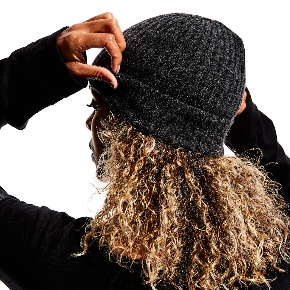 base womens beanie - charcoal marl