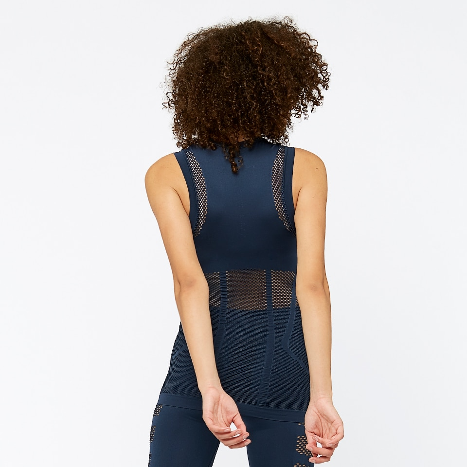 seamless mesh womens tank top - navy