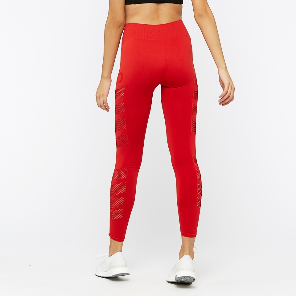 mesh long womens sports leggings - red