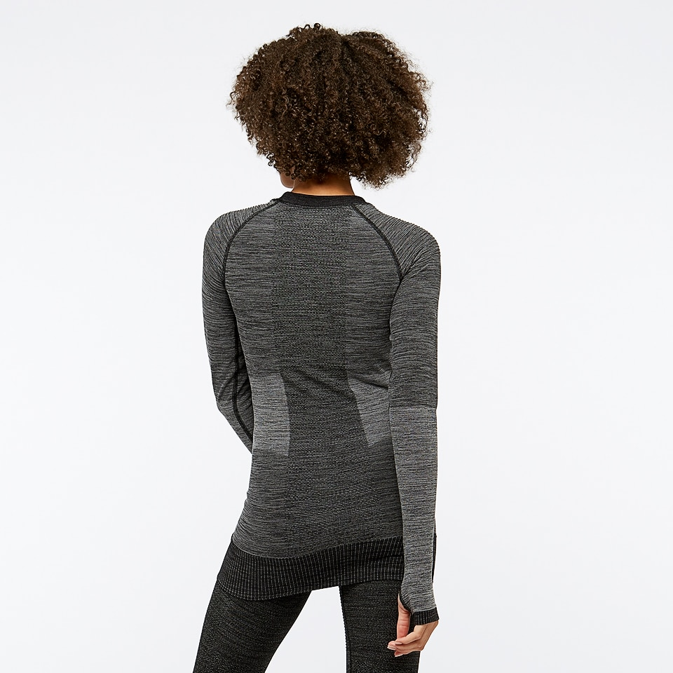 icon seamless womens rib long sleeve - black marl