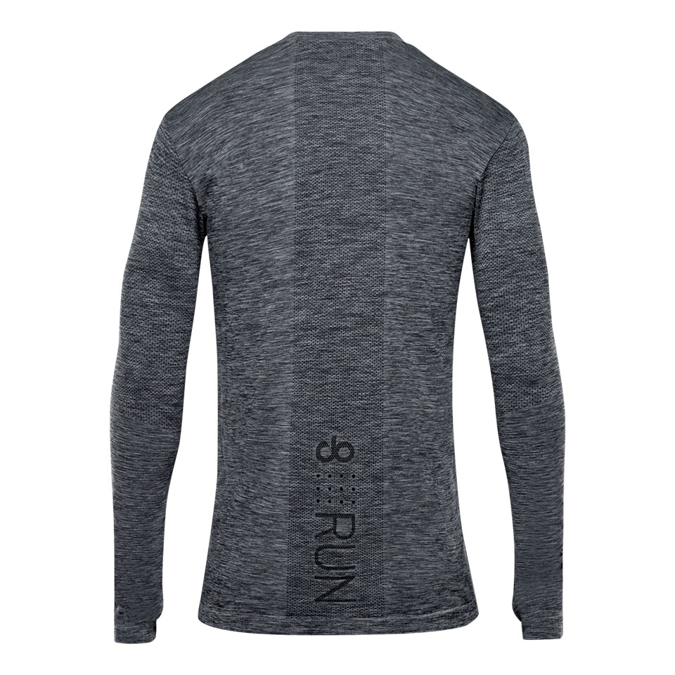 doRUN seamless mens long sleeve running top - mid grey marl