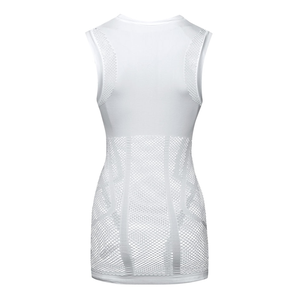 mesh seamless womens tank top - white