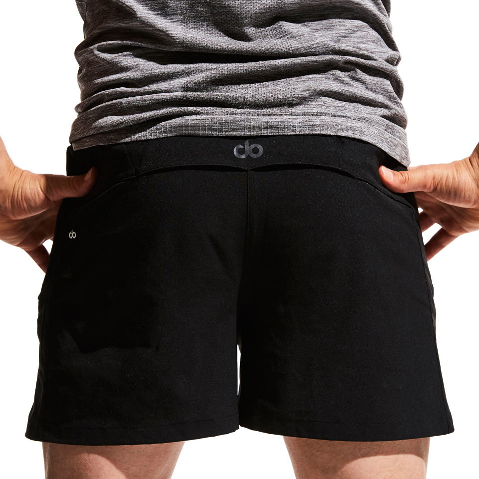 base mens 5 inch sports shorts - black