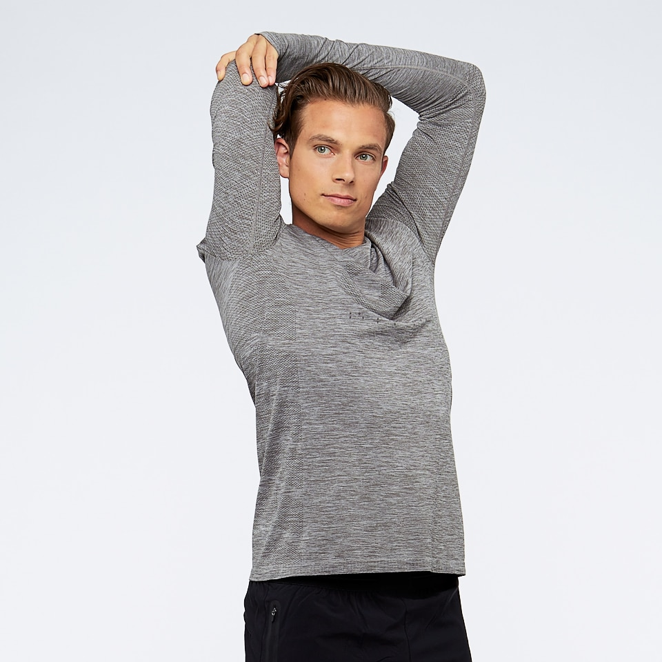 base seamless mens long sleeve sports top - taupe marl