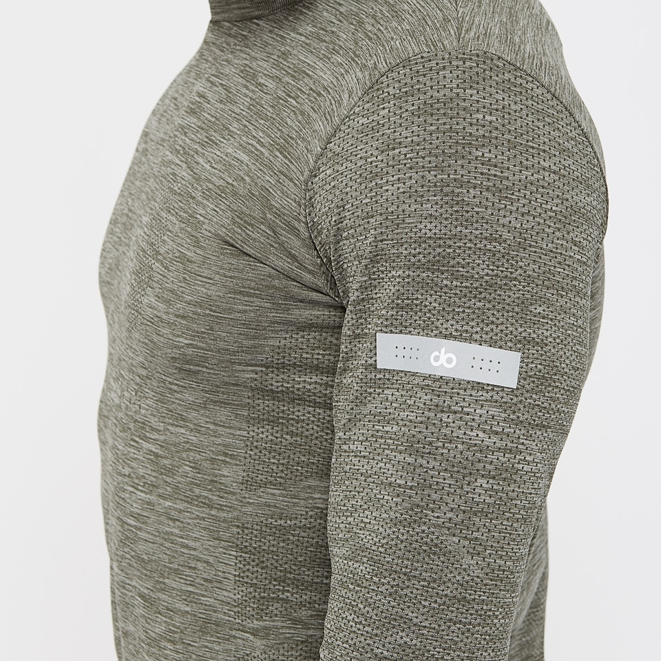 base seamless mens long sleeve top - moss marl