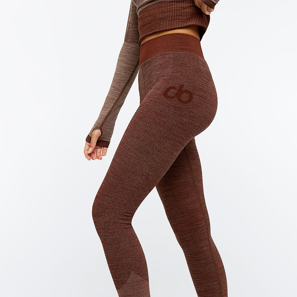 base seamless womens rib tight - earth marl