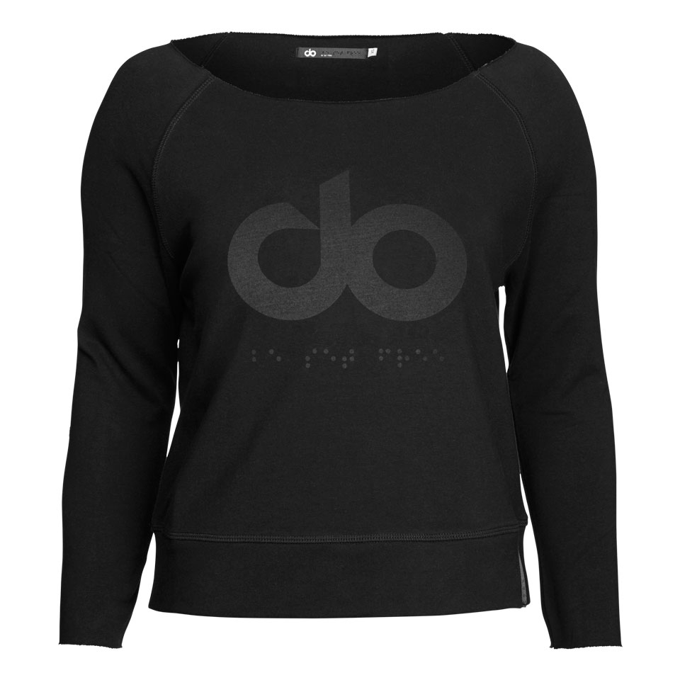 icon slash neck womens sweatshirt - black