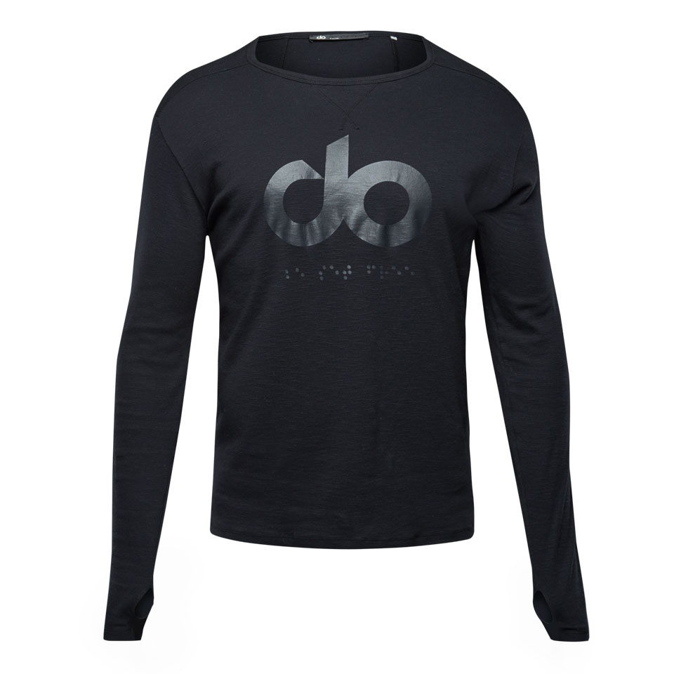 icon slub mens long sleeve -black
