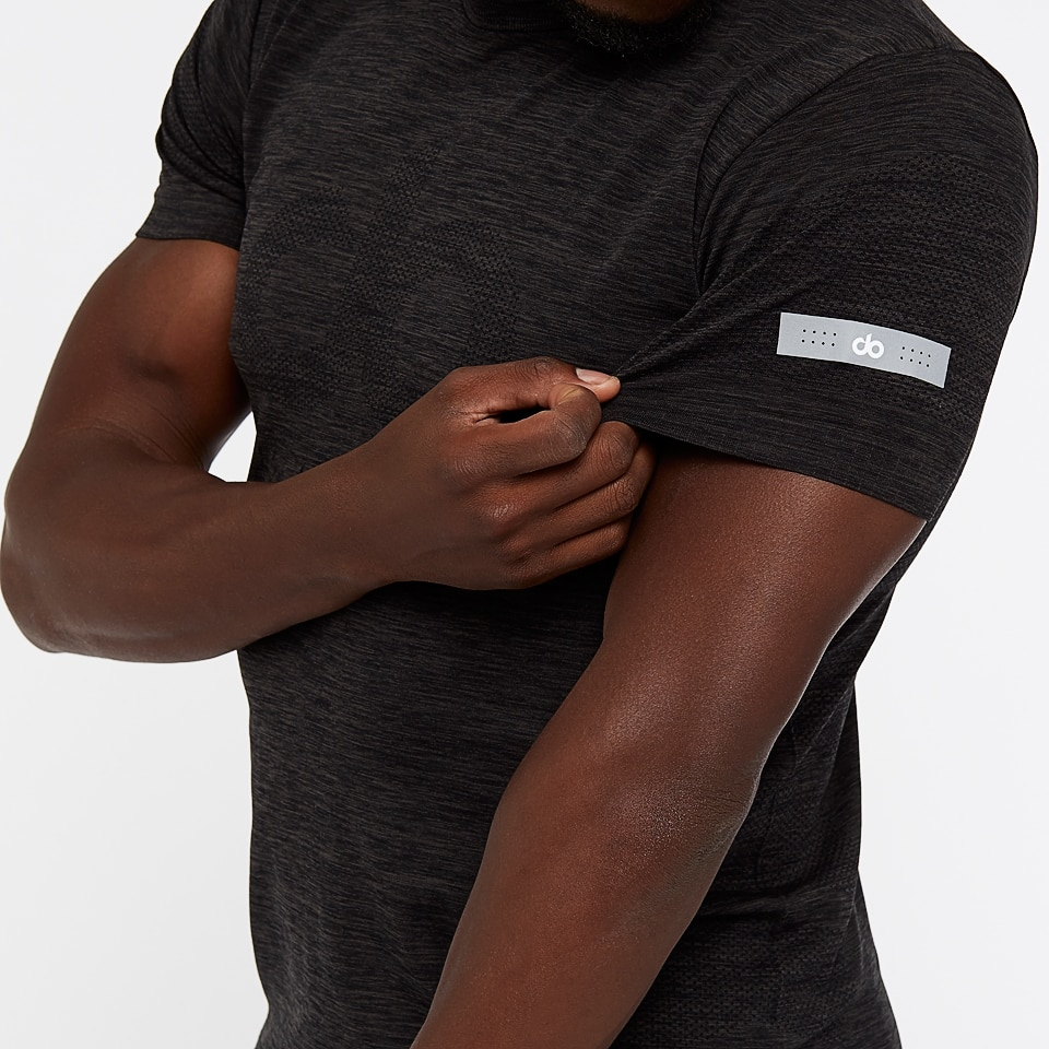seamless mens sports t-shirt - black marl