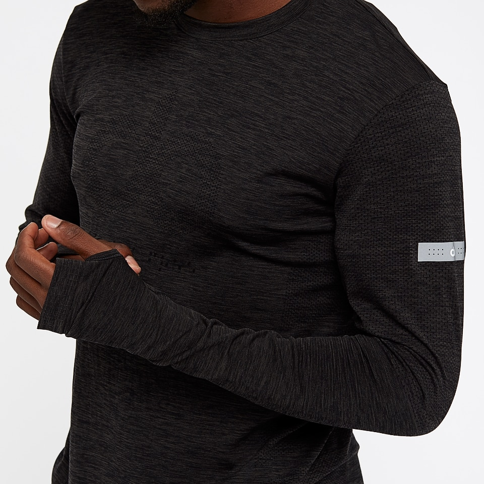 base seamless mens long sleeve top -  black marl
