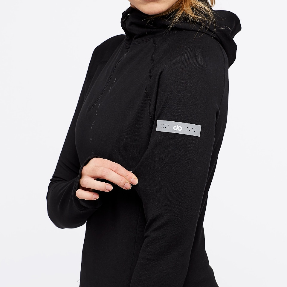 base womens half zip hoodie - black