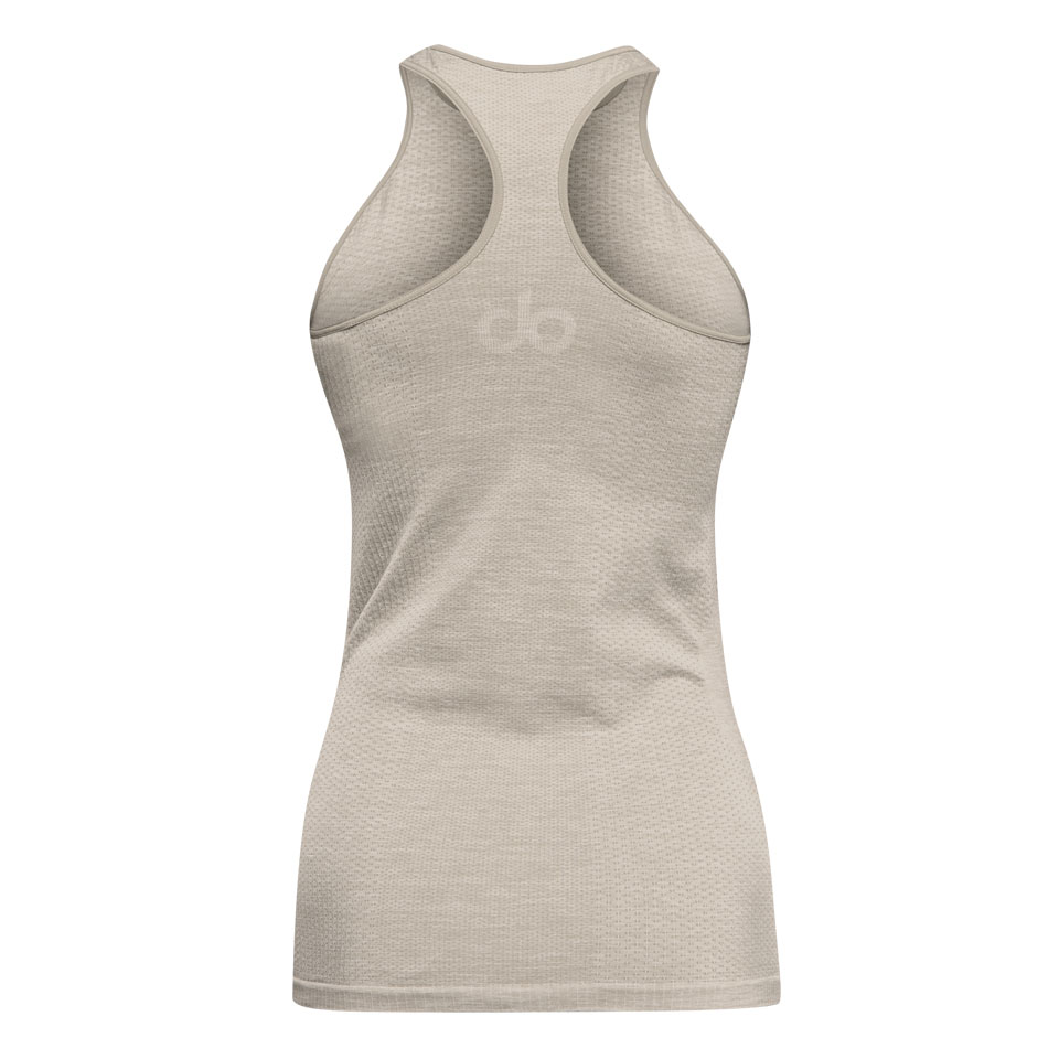 seamless womens sports vest - mushroom marl