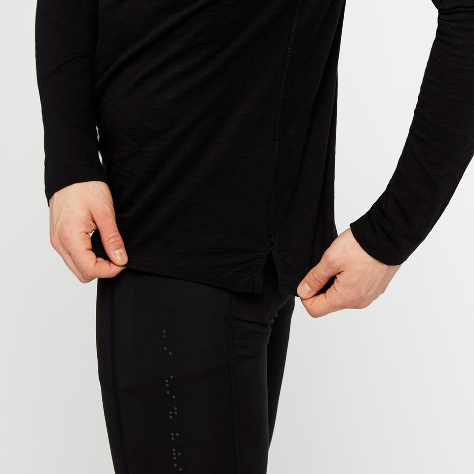 icon mens wide slub long sleeve - black