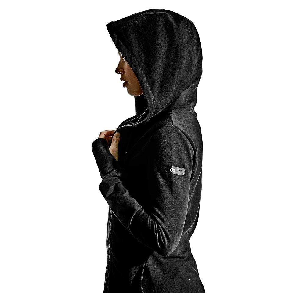base side zip womens hoodie - black