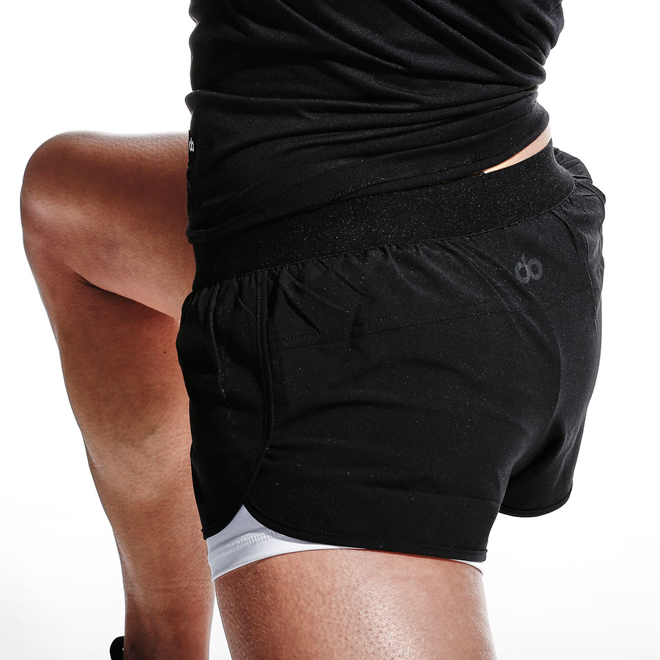 base womens double shorts - black/white
