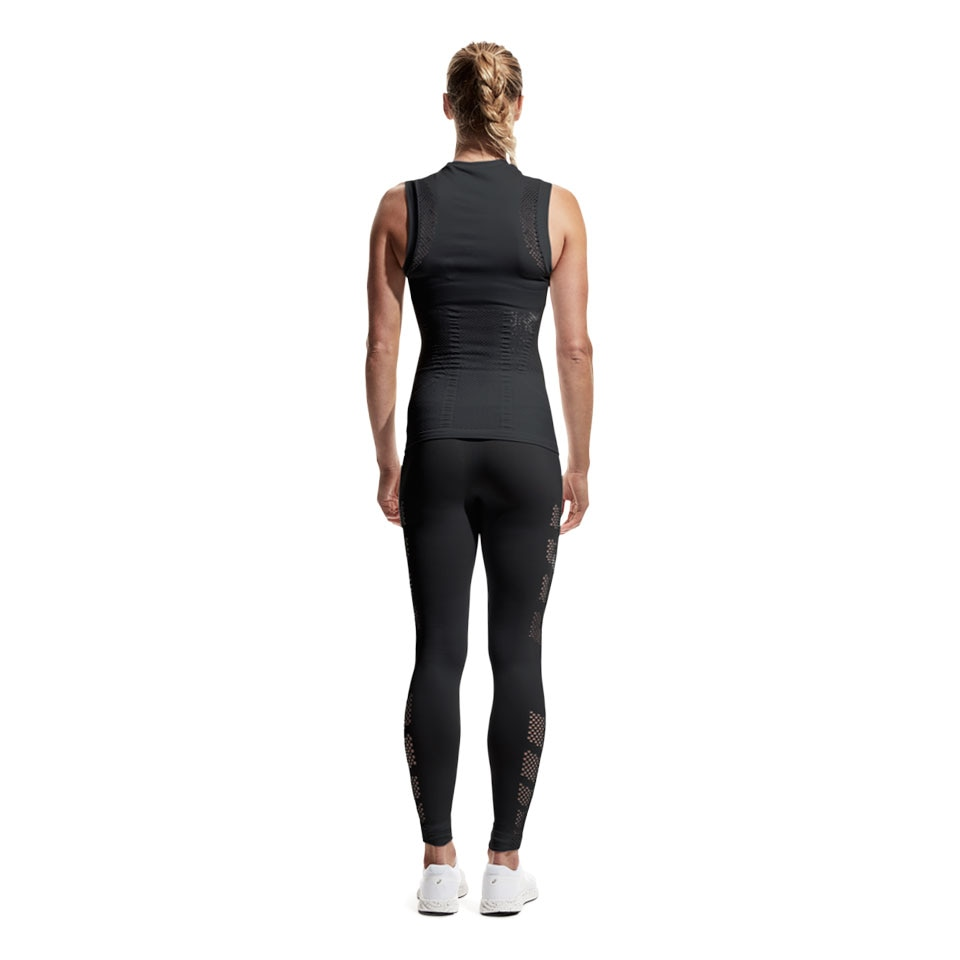 mesh long womens sports leggings - black