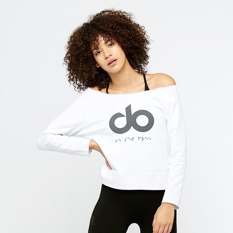 icon slash neck womens sweatshirt - white