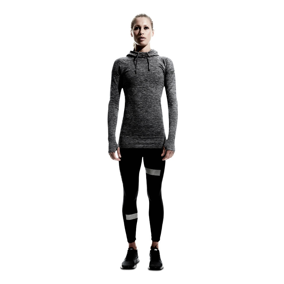 doRUN seamless womens sports hoodie - mid grey marl