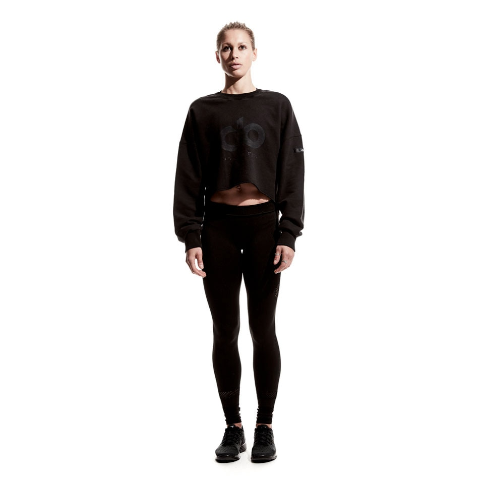 icon raw cut womens sweatshirt - black