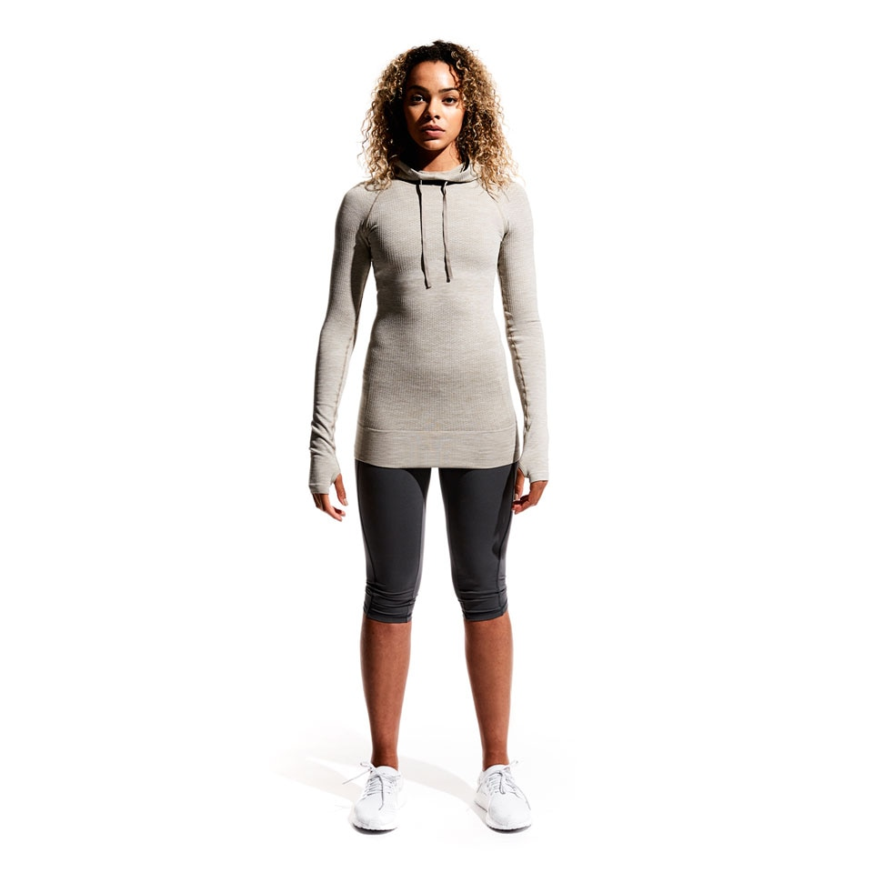 seamless womens sports hoodie - mushroom marl