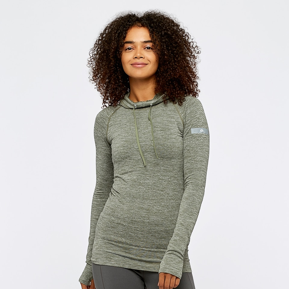 seamless womens sports hoodie -  moss marl