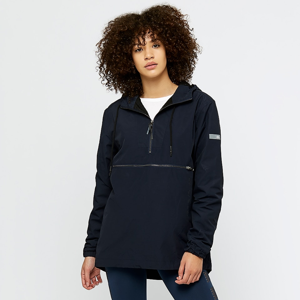 base womens unisex woven overhead jacket - navy