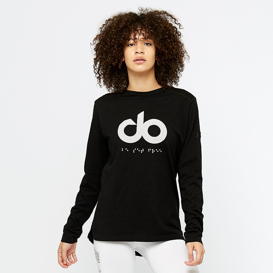 icon womens wide slub long sleeve - black
