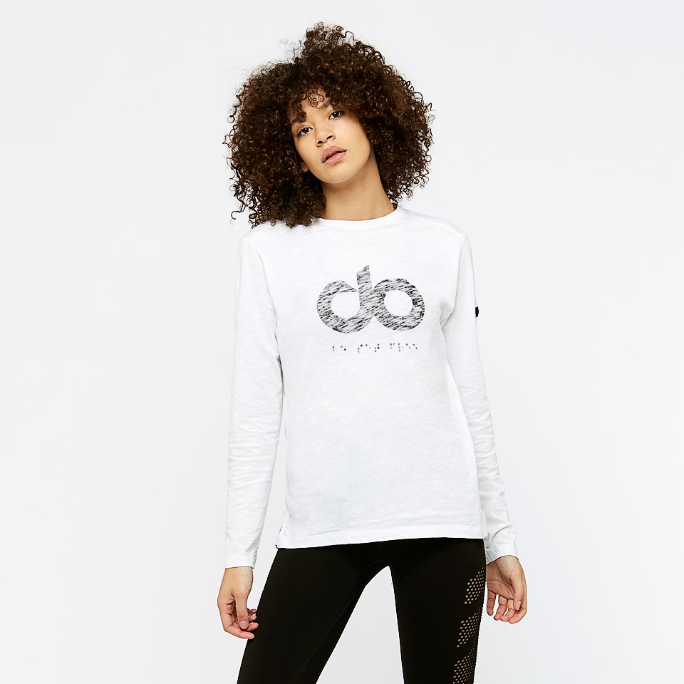 icon womens wide slub long sleeve - white