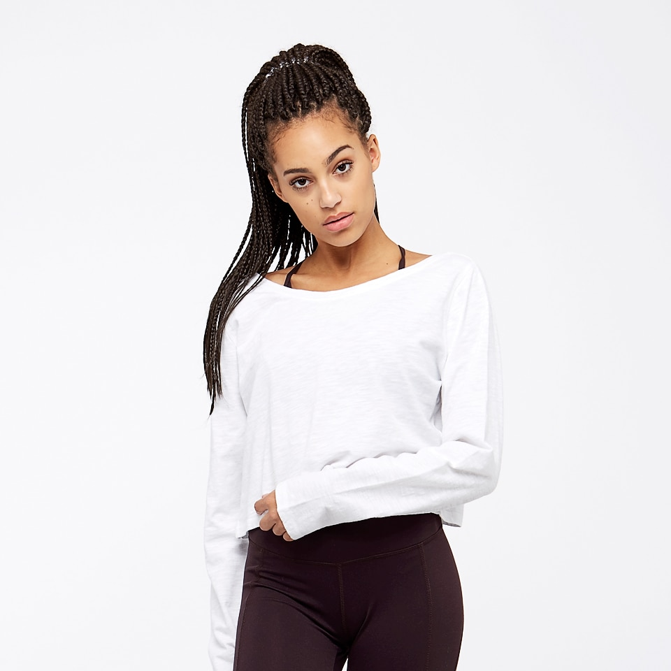 base womens long sleeve crop top - white