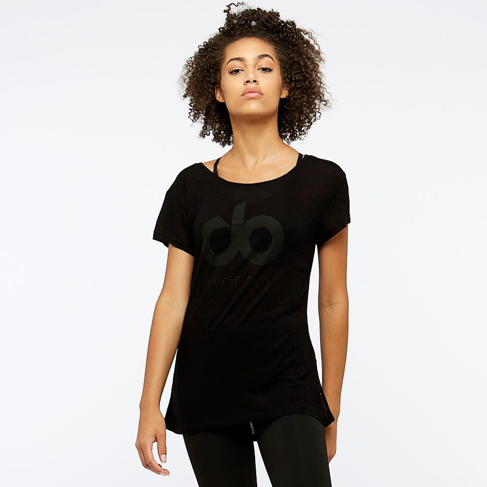icon burnout womens t-shirt - black