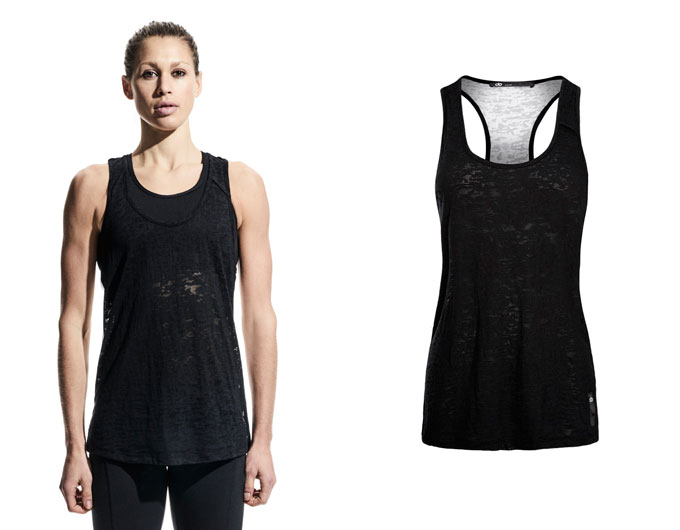 FREE TANK - contrast womens sports tank top - black/white