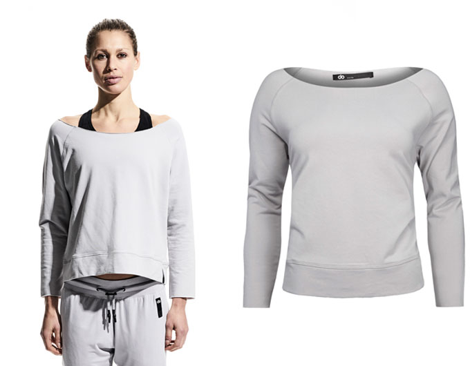 base slash neck womens sweatshirt - grey