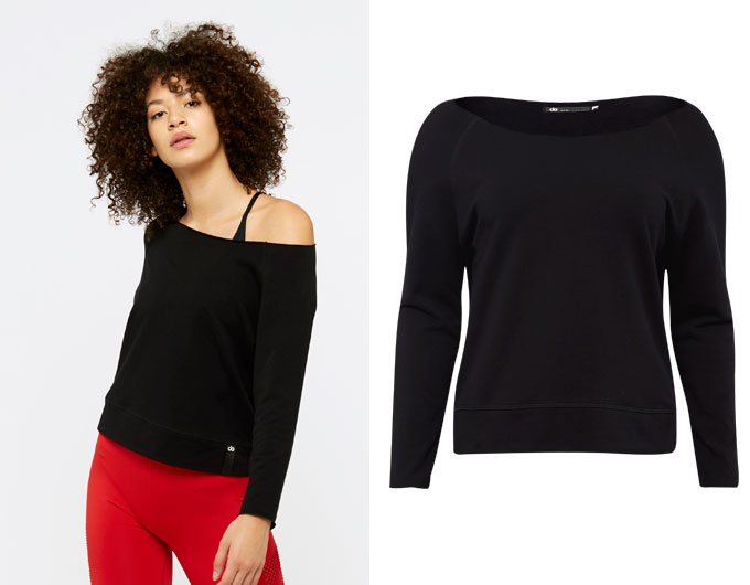 base slash neck womens sweatshirt - black