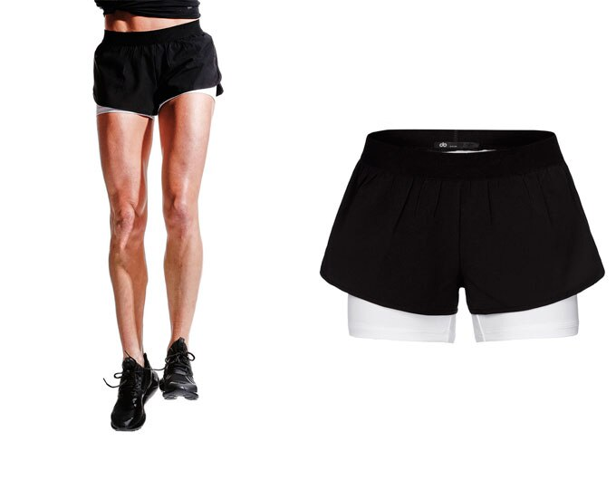 base double ladies sport shorts - black/white