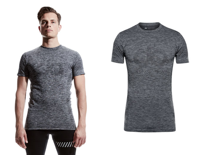 doRUN seamless mens sports t-shirt - mid grey marl