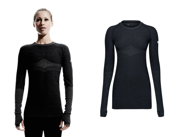 doRUN seamless womens long sleeve running top - charcoal marl