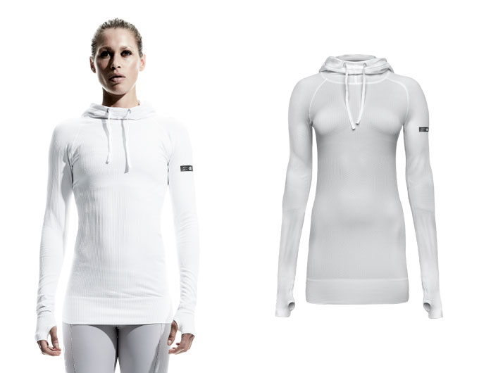 doRUN seamless womens sports hoodie - white