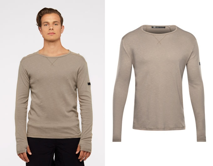 base slub mens sports long sleeve - beige