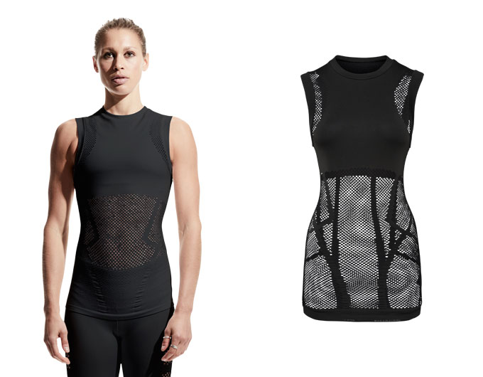 seamless mesh womens tank top - black